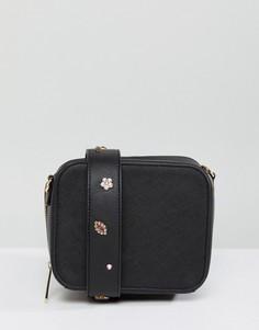 Сумочка через плечо со сменным декорированным ремешком Johnny Loves Rosie - Черный