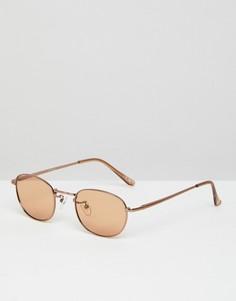 Овальные солнцезащитные очки в стиле 90-х со светло-коричневыми стеклами ASOS - Коричневый