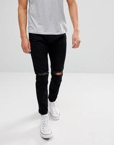 Черные джинсы скинни с рваной отделкой Esprit - Черный