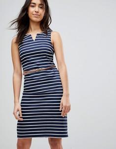 Платье в полоску с ремнем Vero Moda - Темно-синий