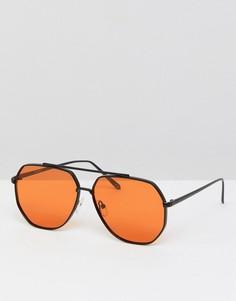 Солнцезащитные очки-авиаторы в металлической оправе с оранжевыми стеклами ASOS Black - Черный