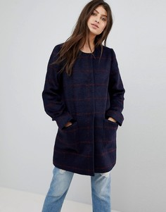 Шерстяное пальто без воротника Abercrombie & Fitch - Темно-синий
