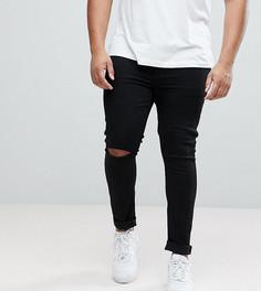 Черные джинсы скинни с рваными коленями ASOS PLUS - Черный