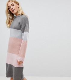 Вязаное платье в полоску ASOS TALL - Серый