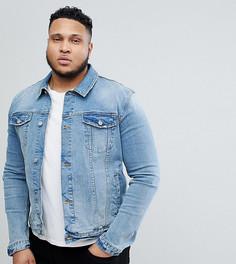 Светлая приталенная джинсовая куртка ASOS PLUS - Синий