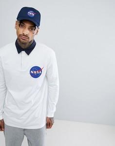 Поло регби удлиненного кроя с длинными рукавами ASOS NASA - Белый