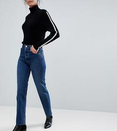 Темные джинсы прямого кроя с завышенной талией и необработанными краями ASOS TALL FLORENCE AUTHENTIC - Синий