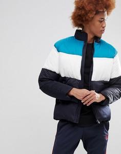 Дутая куртка в стиле колор блок ASOS - Зеленый