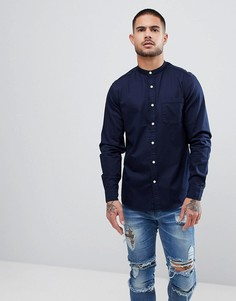 Эластичная джинсовая рубашка узкого кроя с воротником-стойкой ASOS - Темно-синий
