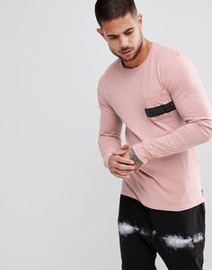 Лонгслив с принтом на кармане и ступенчатым краем Religion - Розовый