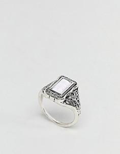 Кольцо с прямоугольным камнем и гравировкой ASOS - Серебряный