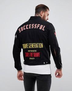 Потертая джинсовая куртка с нашивками Diesel D-HILL - Черный