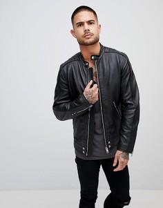 Кожаная байкерская куртка Diesel L-QUAD - Черный