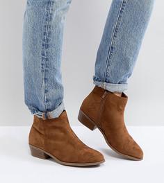 Светло-коричневые ботинки из искусственной замши для широкой стопы New Look - Рыжий