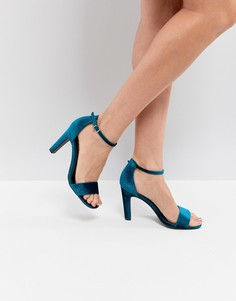 Бархатные босоножки на каблуке из 2 частей New Look - Зеленый