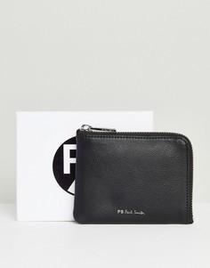 Черный кожаный кошелек на молнии с подкладкой в полоску PS Paul Smith - Черный