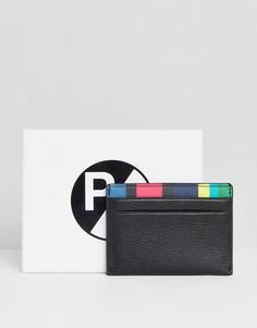 Черная кожаная кредитница с подкладкой в полоску PS Paul Smith - Черный