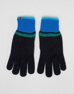 Черные перчатки с контрастными полосами PS Paul Smith - Черный
