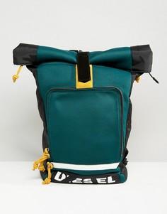 Рюкзак с закатанным верхом и логотипом Diesel - Зеленый