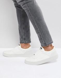 Белые кожаные кроссовки с эластичной вставкой Diesel - Белый