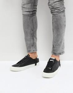 Кожаные кроссовки с молнией Diesel - Черный