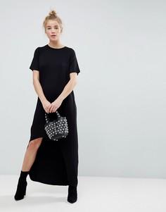 Платье-футболка макси с закругленным краем ASOS - Черный