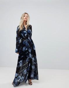 Платье макси с принтом и пышными рукавами Forever New - Мульти