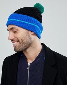 Черная шапка-бини с контрастной полосой PS Paul Smith - Черный