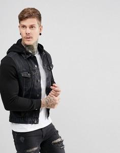Черная джинсовая куртка с трикотажными рукавами New Look - Черный