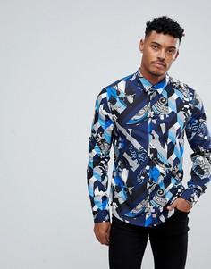 Темно-синяя приталенная рубашка с геометрическим принтом Versace Jeans - Темно-синий
