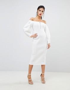 Платье миди на молнии с открытыми плечами ASOS Premium - Кремовый