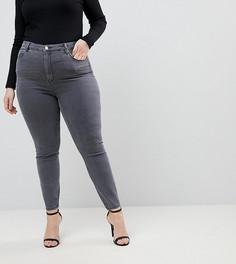Серые джинсы скинни с завышенной талией ASOS CURVE RIDLEY - Серый