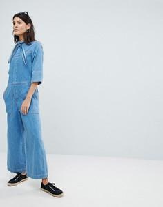 Комбинезон с воротом на завязке и широкими штанинами Mih Jeans - Синий