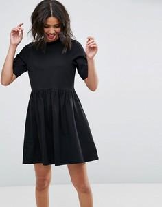 Хлопковое платье мини с присборенной юбкой ASOS - Черный