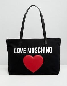 Парусиновая сумка-тоут Love Moschino - Черный
