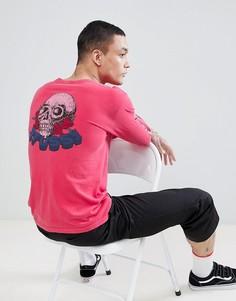 Розовый лонгслив с принтом на спине Stussy - Розовый