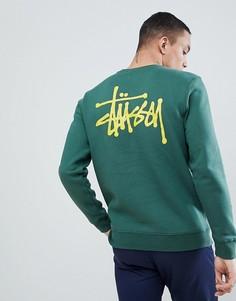 Зеленый свитшот с принтом логотипа на спине Stussy - Зеленый