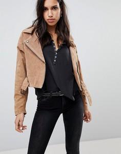 Замшевая байкерская куртка Blank NYC - Кремовый