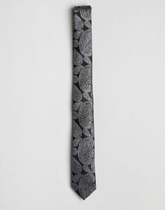 Галстук с серебристым узором пейсли ASOS - Черный