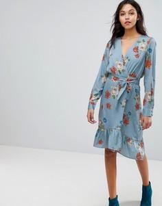 Платье с запахом и цветочным принтом Gestuz - Синий