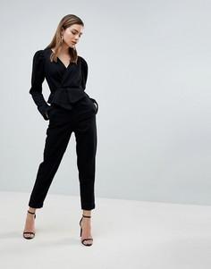 Черный джинсовый комбинезон с пышными рукавами ASOS - Черный