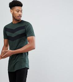 Обтягивающая футболка цвета хаки с шевронным принтом Good For Nothing TALL - Зеленый