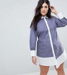 Асимметричное платье-рубашка в клетку Fashion Union Plus - Серый