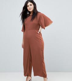 Комбинезон с рукавами-кимоно и присборенной вставкой Fashion Union Plus - Коричневый