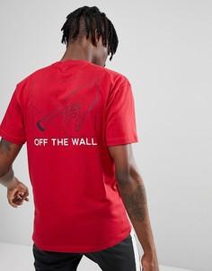 Красная футболка с принтом на спине Vans Button Pusher VA36UECAR - Красный