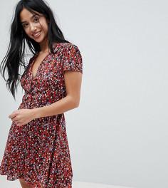 Чайное платье с цветочным принтом Glamorous Petite - Красный