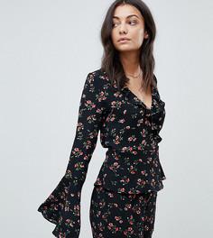 Блузка с запахом и расклешенными рукавами Glamorous Tall - Темно-синий