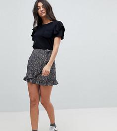 Юбка мини с запахом и цветочным принтом Glamorous Tall - Черный