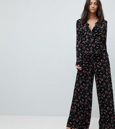 Широкие брюки с цветочным принтом Glamorous Tall - Черный