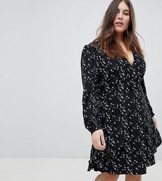 Платье с запахом, длинными рукавами и принтом ласточек Glamorous Curve - Черный